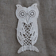 4 Vintage Style Crochet Cotton Lace APPLIQUE Motif - Owl Bird Antique White M36