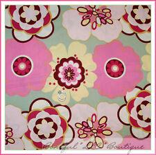 BonEful Fabric FQ Cotton Quilt VTG Pink Yellow Green Large Flower Leaf Asian Dot