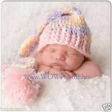 CROCHET BABY PASTELS LONG TAIL ELF HAT - PHOTO PROP