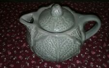 Vintage Art Pottery Green Glazed Cabbage Leaf Tea Pot and Lid Great Condition
