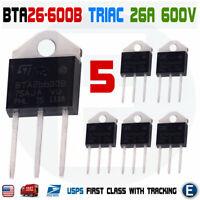 5Pcs BTA26-600B Triac ST MICRO Thyristor BTA26600B STM 26A 600V TOP-3L Insulated