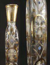 """Victorian Perfume Tube Lachrymatory Bottle Tear Catcher Clear CROSS Enamel 7.25"""""""