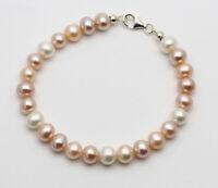 Perlen-Armband - naturfarbene Süßwasser-Perlen multicolour in 20 cm Länge