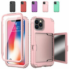For iPhone 11 Pro Max Xs XR 8+ 7 6s Wallet Phone Case with Makeup Mirror Cover