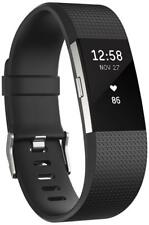 Fitbit Charge 2 Frequenza Cardiaca fitnessaufzeichnung ARGENTO NERO PICCOLO #