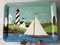 Warren Kimble Lighthouse Coastal Breeze Melamine Tray Evolution Sakura 19.5""