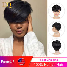 Short Straight Human Hair Wigs Pixie Cut Remy Brazilian Natural Wigs for Women