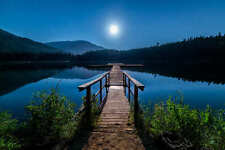BOAT DOCK AT NIGHT UNDER THE STARS AND MOON LANDSCAPE POSTER 24x36 HI RES
