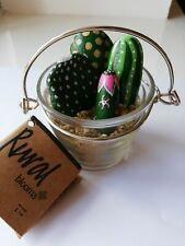 Miniature Hand Painted Cacti Pebbles in a glass pot - unique gift - Cactus Rocks