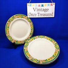 "A J Wilkinson - 6 x Art Deco Dessert Plates (8"") Green, Yellow Vintage 1930s VGC"