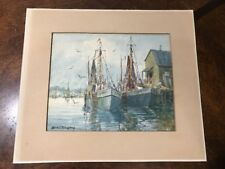 Brian Truelove Original Water Color Painting Vintage Artwork 1930's Gloucester