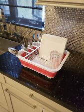 Easy Storage Collapsible Drying Dish Rack Drainer with Cutlery Holder
