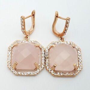 PJC Sterling Silver Rose Gold Toned Rose Quartz White Topaz Drop Dangle Earrings
