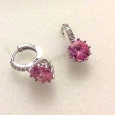 FH4 Sim diamond & pink sapphire huggie hoop 18ct white gold gf 2x1cm FREEGIFTBOX