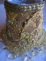 Victorian style yellow lamp Shade hand made with glass beads