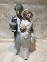 "Lladro Wedding Bells Bride & Groom Porcelain Figurine 8"" Tall"
