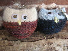 Pair of Hand Knitted Owl Key Rings - One /Autumn Sparkle, One Navy Tweed
