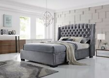 Brando Bed Frame 5FT King Size In Velvet Grey Stunning Winged Headboard