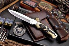 CFK Handmade 440C Custom ARMY MILITARY Scrimshaw Bone Dagger Pugio Hunter Knife