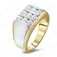 1.00 Ct Round Cut Diamond 10k Two-tone Gold Wedding Band Ring for Men's