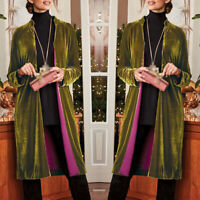 Womens Retro Long Drape Velvet Jacket Open Front Cardigan Coat Velour Outwear