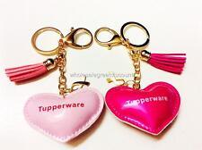2 NEW TUPPERWARE LIGHT & DARK PINK LOVE HEART SHAPE CHARM KEYCHAIN KEYRING SET