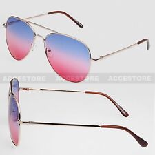Two Color Lens Unisex Aviator Shades Sunglasses Outdoor Blue Red Lens