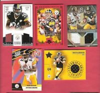 BEN ROETHLISBERGER LE'VEON BELL ANTONIO BROWN RC& GAME USED JERSEY CARD + ROOKIE