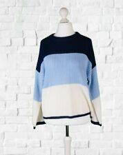 Ladies Blue Colour Block Stripe Jumper // Brave Soul // To Fit UK Size 14 - L