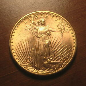 Beautiful! 1910-D Gold $20 Saint Gaudens Double Dbl Eagle Coin ~ BU+