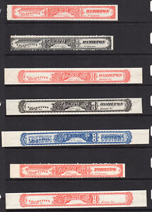 1880 Canada Cigarette Tax Paid Revenue Remainder Strips, Collection of 7 Unused