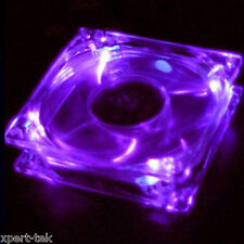 80mm 4-LED PURPLE Light Neon Quite Clear PC Computer case Bearing Fan CPU Cooler