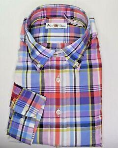 NWT $175 * Alan Paine * Multicolor Plaid Cotton Button-down Collar Dress Shirt L