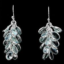 Sterling Silver 925 Stunning Genuine Sky Blue Topaz Cascade Design Earrings