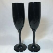 "2 Black Stem Champagne Flutes Wine Glasses 8 7/8"" Tall EUC"
