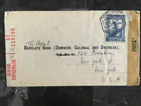 1943 Mozambique Dual Censored Airmail Cover To USA Censored Barclay's bank