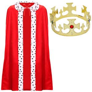 KING COSTUME SET CAPE & CROWN MEDIEVAL KING FURY ADULT KIDS FANCY DRESS