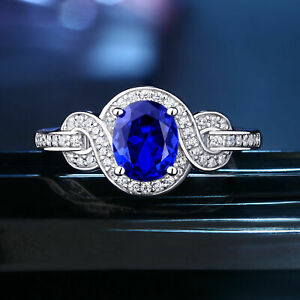 3Ct Oval Cut Blue Sapphire Beauty Women's Engagement Ring 14K White Gold Finish