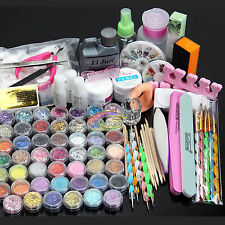 AU Stock Nail Art Kit Acrylic Powder Liquid Glitter UV Gel Glue Tips Brush Set