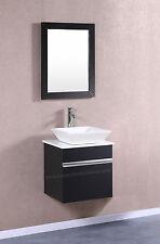 "Modular Wall Mount VESSEL Vanity Sink 20"" Small BLACK Hung Floating Bathroom"