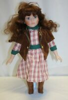 "16"" Cowgirl Porcelain Doll – Auburn Hair Blue Eyes -Unbranded"