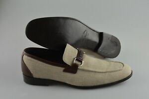 Men's SALVATORE FERRAGAMO 'Round' Fabric/Leather Loafers Size US 11.5 - D
