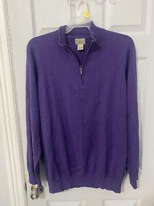LL Bean Men's Cotton Cashmere Quarter Zip Purple Sweater Size XL Tall B