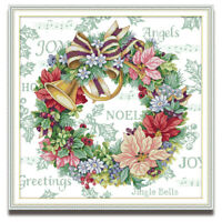 Counted Cross Stitch Kit Flower Holiday Wreath Printed Unprinted 14CT 11CT