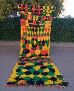 Vintage Moroccan runner Rug Beni Ourain handmade carpet 100% wool 10,4ft x 3,2ft