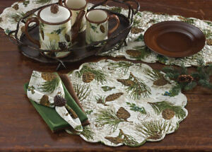 """2 Walk in The Woods Pinecone Scalloped Round Cotton Country Cabin Placemats 17"""""""