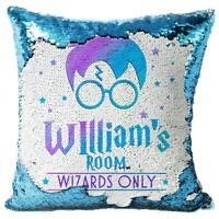 Harry Wizard Sequin Cushion Magic Cover Reveal Girls Boys Christmas Blue KC71