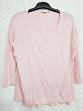 Ladies NEXT Knitted Top Size 12 Baby Pink Beaded Sparkly 3/4 Sleeve Autumn Work