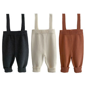 Toddler Baby Girls Suspender Pants Knitting Warm Trousers Casual Daily Wear
