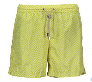 Andrew & Cole Zurich Diamante Limone Print Swim Shorts Trunks Italy Sz XL